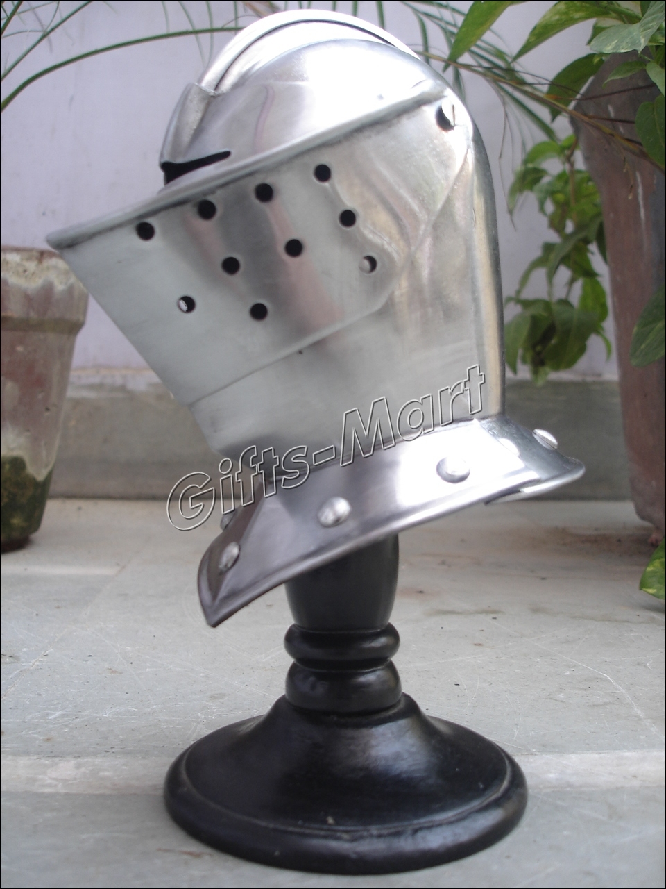 Mini Medieval Helmet +Free Wood Stand, Hot Decorative Tabeltop Replica Knight