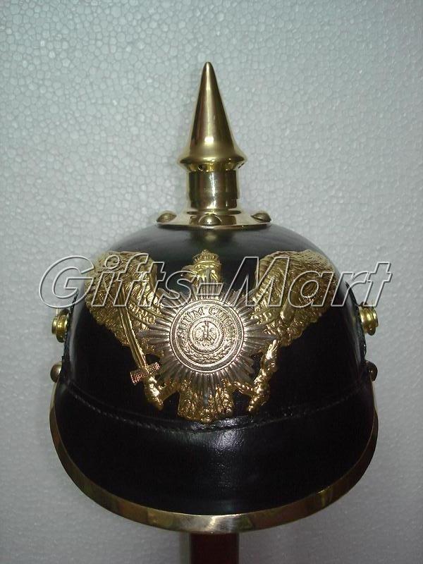 PRUSSIAN HELMET, LEATHER GERMAN WWI PICKELHAUBE SPIKED MILITARY ARMOR COSTUME B,