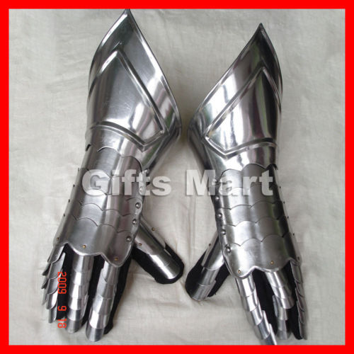 Medieval Gauntlets, Functional Armor Gloves - Armour Knight Mitten Gauntlet Pair