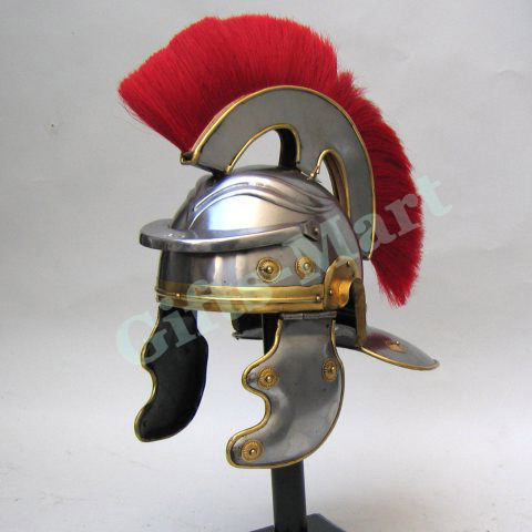 Roman Centurion Helmet With Leather Inner Liner & Wooden Display Stand, Medieval