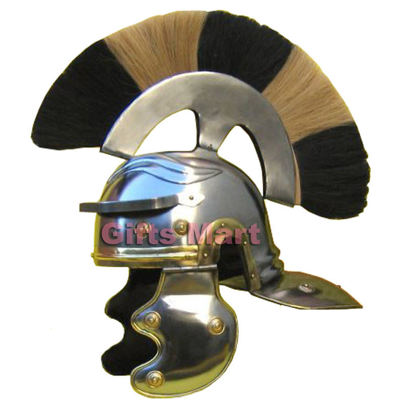 Roman Centurion Helmet With Plume Medieval Knight, Ancient CB New Year Gift Item