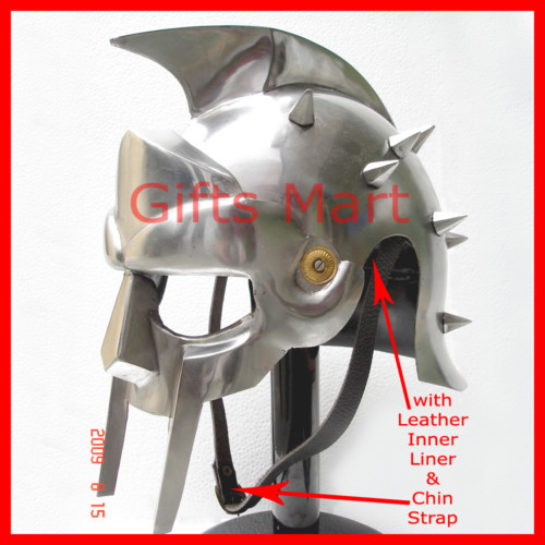 Roman GLADIATOR MAXIMUS HELMET with Leather Liner, Armor,Greek ,Movie,Prop,Sca ;