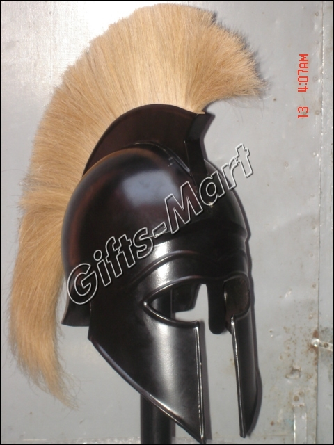 Roman Spartan Greek Corinthian Helmet, Armor w/ plum BC, Medieval Fancy Dress  -