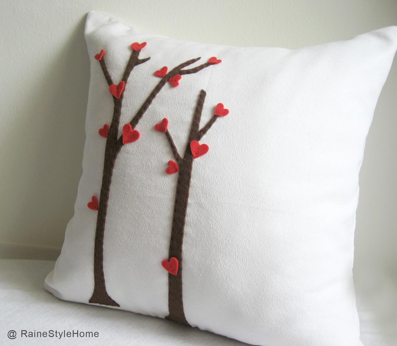Valentine Gift. Love Trees Blossom White Pillow Cover. Decorative Cushion