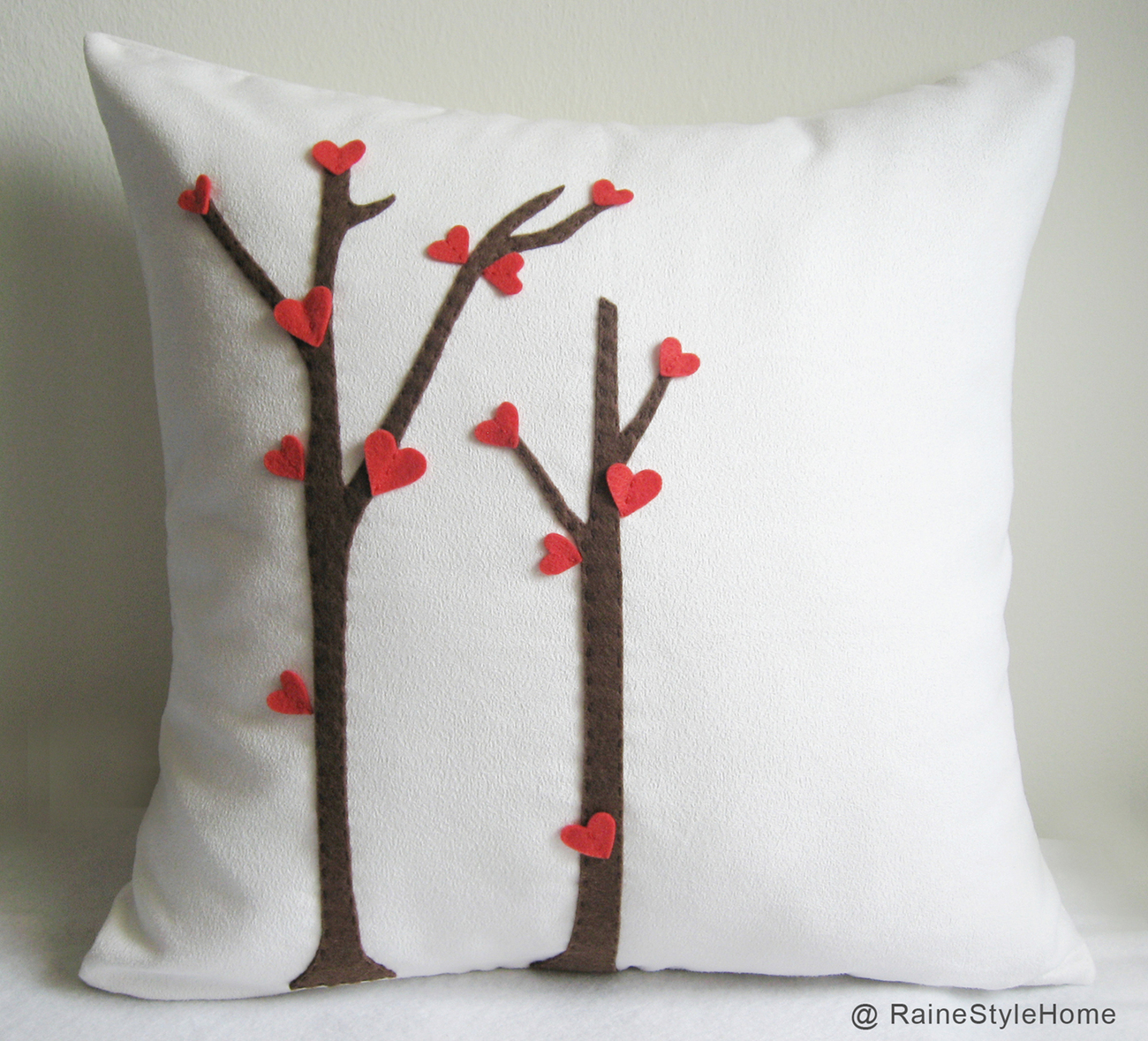 Primary image for Valentine Gift. Love Trees Blossom White Pillow Cover. Decorative Cushion