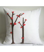 Valentine Gift. Love Trees Blossom White Pillow Cover. Decorative Cushion - $29.00