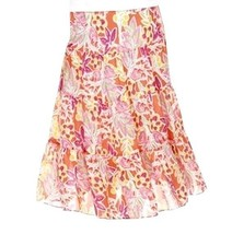 Chaps by Ralph Lauren Petite Coral Georgette Tiered Peasant Floral Skirt... - $49.99