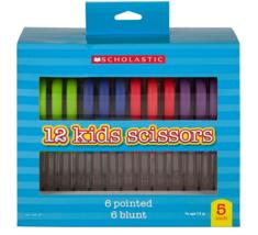 Scholastic 12 Kids Scissors 6 Pointed 6 Blount Soft Grip Handles 4 Color... - $14.25