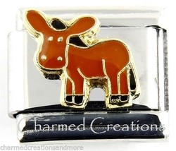 Brown Donkey Mule Magnetic 9mm Italian Charm Stainless Steel Modular Link - $7.87