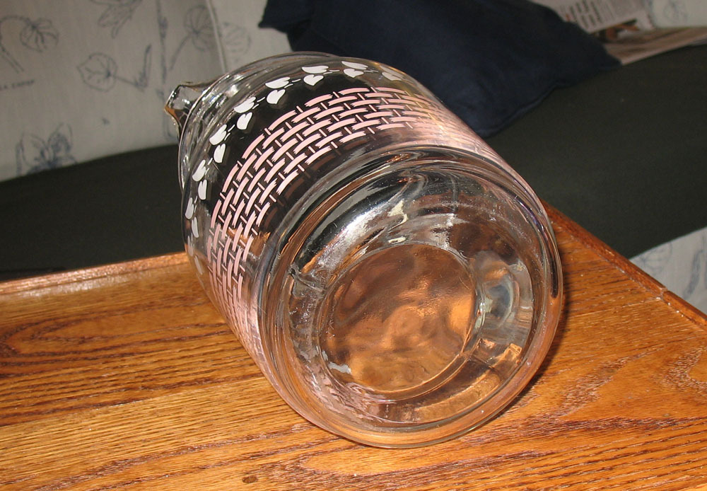 Retro 1950's Glass Pitcher, Gallon Size, Pink and White Design