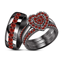 His And Her Red Garnet Wedding 14K Black Gold Fn Trio Bridal Engagement ... - $211.98