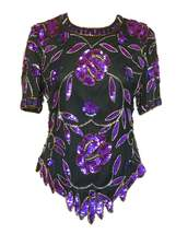 70s Laurence Kazar 100% Silk Chiffon Violet Purple Black Sequin Fitted P... - $39.00