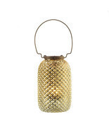 CANDLE LANTERN Iridescent golden glass w metal hanger - $8.97