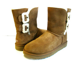 UGG BAILEY FLUFF BUCKLE WOMEN SHORT BOOTS SUEDE CHESTNUT US 8 /UK 6 /EU 39 - $128.69