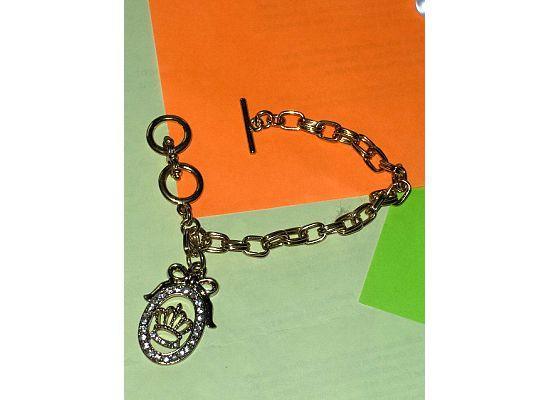 Rolo Chain Crown Rhinestone Charm Toggle Bracelet