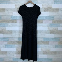 Laura Ashley Floral Jacquard Maxi Dress Black Short Sleeve Vintage Women... - $69.29