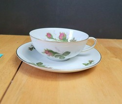 Wentworth China Tea Cup & Saucer White with Pink Roses #7559 - $4.94