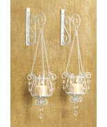 Free-swinging Votive sconce pendant metal hanging wall glass pair - $9.96