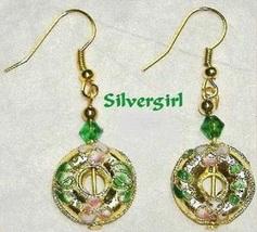 Dangle Cloisonne Beaded Earrings Emerald Green Red White Pink Orange Gol... - $12.99