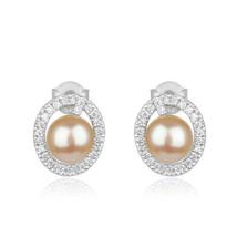 Natural pink pearl gemstone 925 sterling fine silver cute stud earrings ... - $26.73