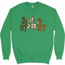 Bad & Boozy Sweatshirt St. Patrick's Day Shamrock Clover Drinking Crewneck - $20.73+
