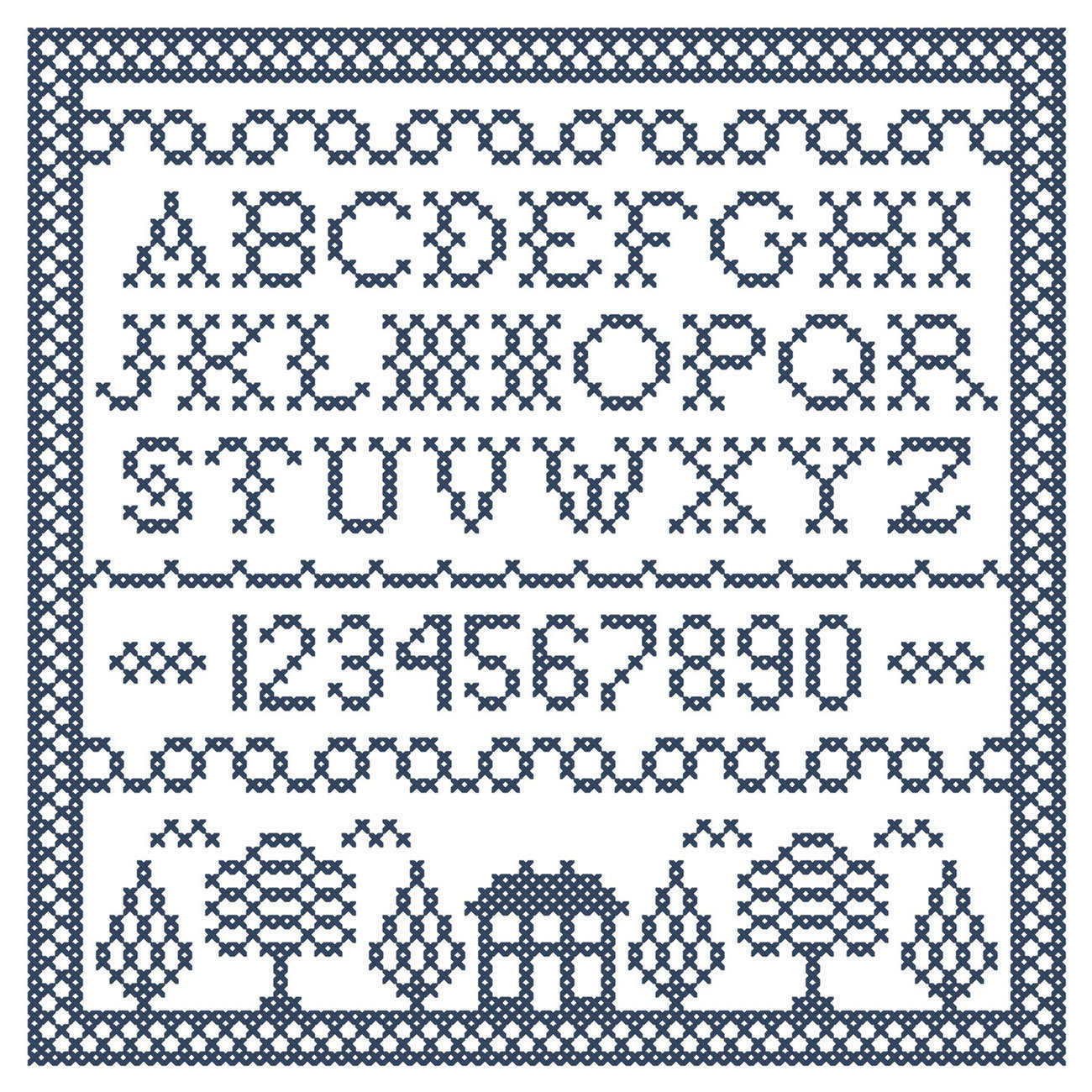 Cobalt Corners blue white Sampler PDF cross stitch chart John Shirley new design