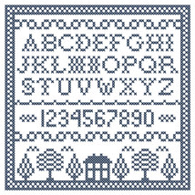 Cobalt Corners blue white Sampler PDF cross stitch chart John Shirley new design - $89,02 MXN