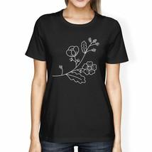 Flower Women's Black Cotton T Shirt Unique Graphic Tee Gift Ideas - $16.45