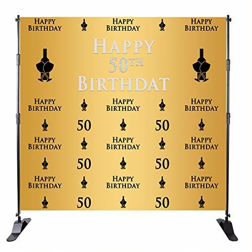 Mehofoto 50th Birthday Background Champagne Glass Repeat Backdrop Golden Backgro
