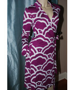 Diane von Furstenberg New Jeanne Two Wrap Dress Graphic Clouds Beet WRA... - $229.99