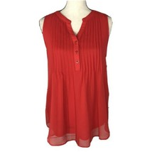 Charter Club Womens Medium M Top Sleeveless Pin-Tuck Lined V-Neck Red St... - $24.72
