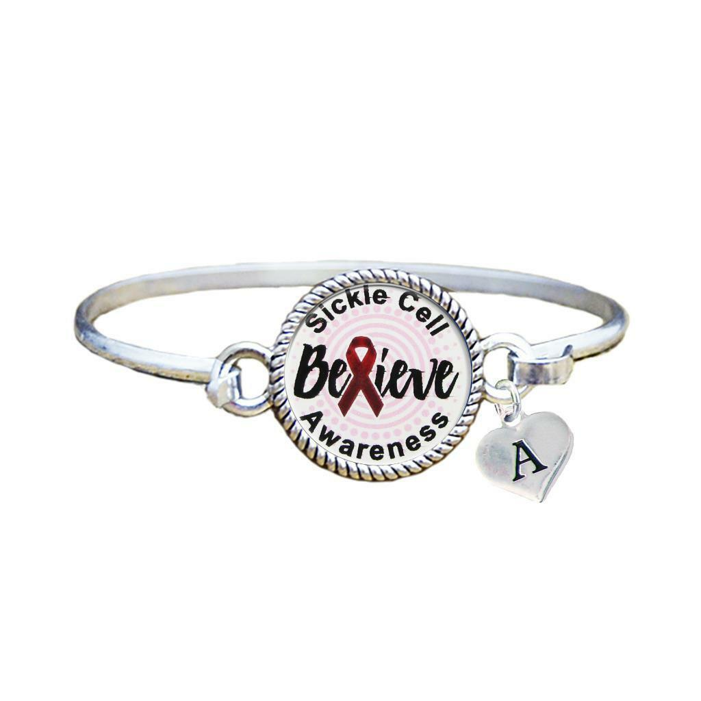 Primary image for Custom Sickle Cell Anemia Awareness Believe Silver Bracelet Jewelry Initial