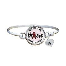 Custom Sickle Cell Anemia Awareness Believe Silver Bracelet Jewelry Initial - $13.80+