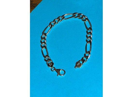 Sterling Silver Mens Figaro Bracelet 3 Plus 1 Bold 8-1/4