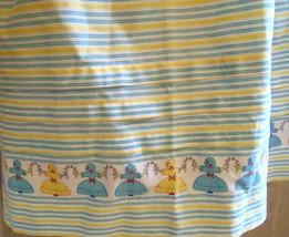 Vintage Handmade Yellow White Blue Striped Cotton Apron w/ Doll Border C... - $7.91