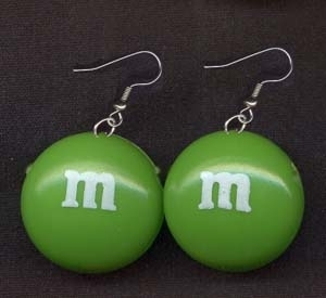 Primary image for m&m EARRINGS-Chocolate Candy Junk Food Charm Funky Costume Jewelry-GREEN-SMALL
