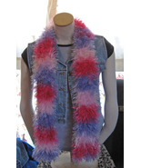 Striped Furry Scarf/Long/Retro/Handknit by Mandolinbabe! - $19.95