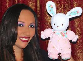 "Carters 9"" Bunny Rabbit Plush Rattle Pink Floral Print Flower Blue Ears ... - $18.69"