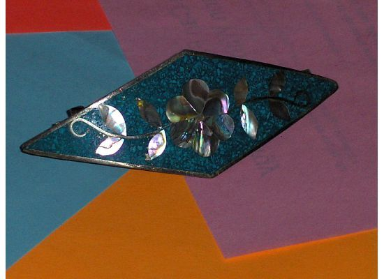 Inlaid Abalone Shell Silver Hair Barrette