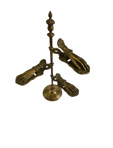 """Antique Desk Brass Victorian Hand Stand Letter Note Photo Recipe Holder 15"""" tall"""