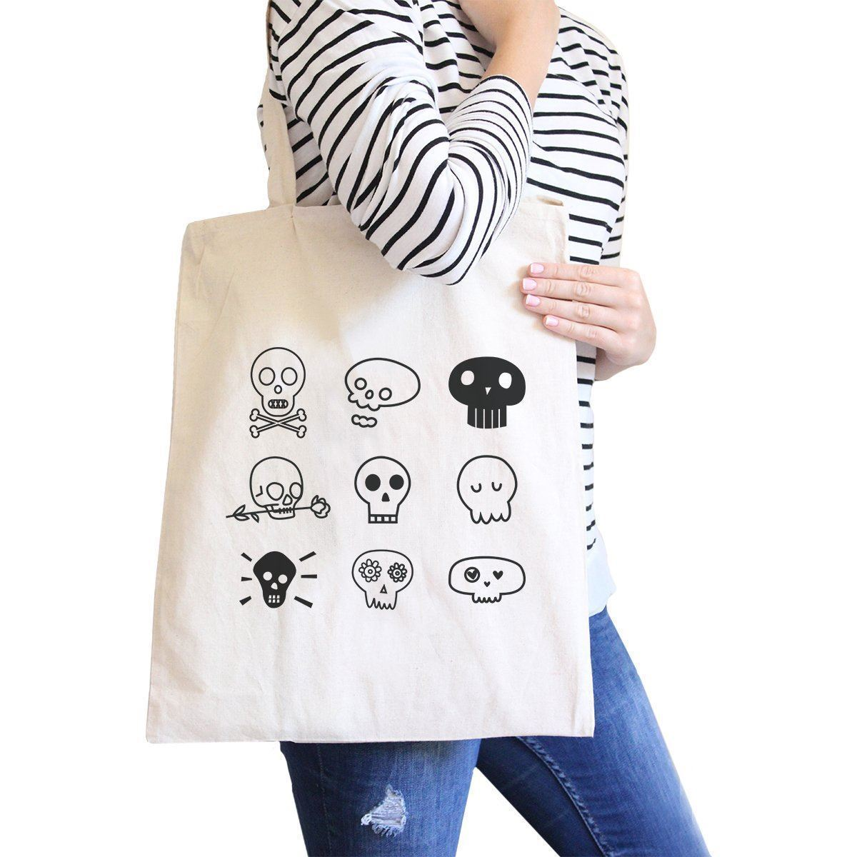 Primary image for Skulls Natural Canvas Bags