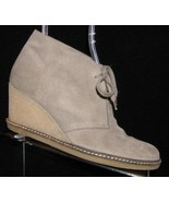 J.Crew 'MacAlister' gray suede lace up wedge crepe soled desert booties 9M - $55.74
