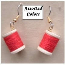 THREAD SPOOLS WOOD EARRINGS -Funky Quilting Sewing Charm Jewelry - $5.97