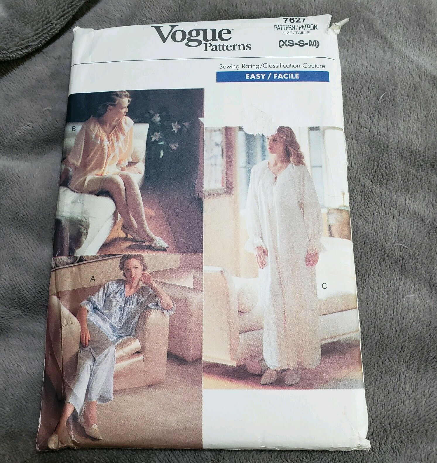 Vogue 7627 Nightgown Pajama Top Pants Woman's 6 8 10 12 14 Bust 30 1/2 - 36 UC