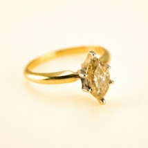 1ct Marquise Diamond ring 18k yellow gold solitaire Uk Size J BHS - $2,587.10