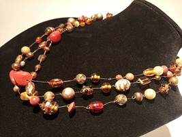 Unique 3 Strand Treasure Necklace w/ Pearls Stones Murano Glass and MUCH... - $102.95