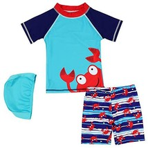 Kids Boys Two Piece Swimsuits Rash Guard Short Sleeve Sunsuit Swimwear S... - $19.41