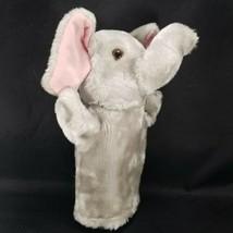 "Elephant Hand Puppet Gray Plush Teachers Aide Preschool Soft 9"" Pink Ears - $12.86"