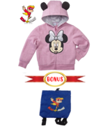 Disney Minnie Mouse Jacket Girls Fleece Zip up Hoodie & Backpack Bag Min... - $26.99