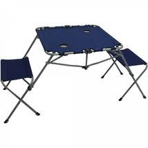 Folding Camping Picnic Table Set w 2 Seats Cup Holders Sturdy Portable D... - $33.72